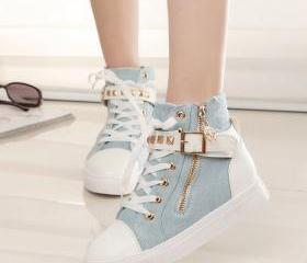 New Hot Sale Women Rivets Canvas Shoes +PU Surface Fashion Belt Buckle High Running Shoes For Leisure Sneakers