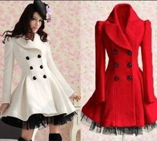 Red Wool Long Winter Dress Coat on Luulla